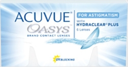 Acuvue Oasys for Astigmatism contact lenses with Hydraclear Plus